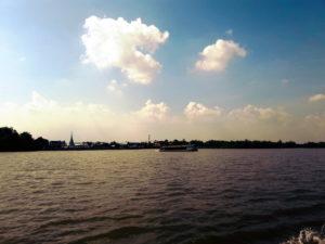 thailand chao praya river ferry crossing samut prakan temple fair travel southeast asia